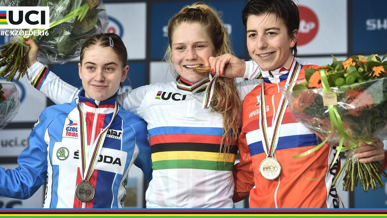 Nikola Nosková (izquierda), Evie Richards (centro) y Maud Kaptheijns (derecha), podio sub-23. Foto: © UCI