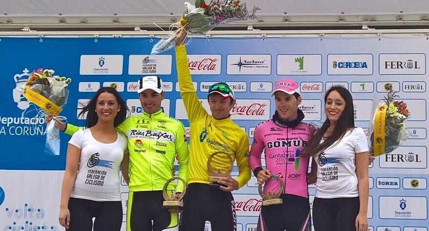 Podium de la Volta a Coruña con Sheydyk, Gallu y Chava (Fuente: Facebook (Jose Manuel Gutierrez Revuelta)
