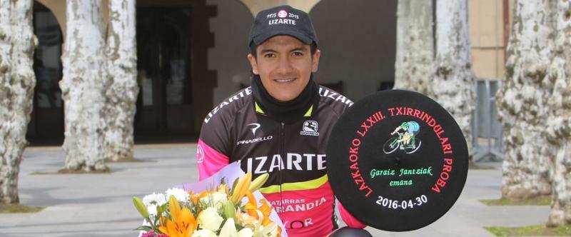 Carapaz consiguió su primera victoria en Lazkao (Foto: Equipo Lizarte)