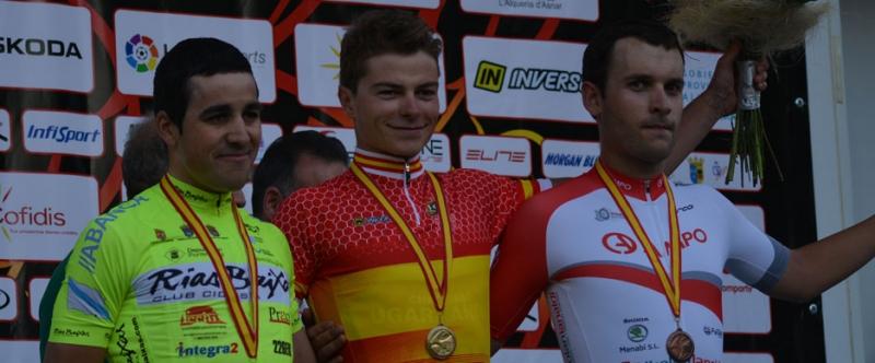 Marcos luciendo el maillot de campeón de España contra el crono (Foto: @equipolizarte)
