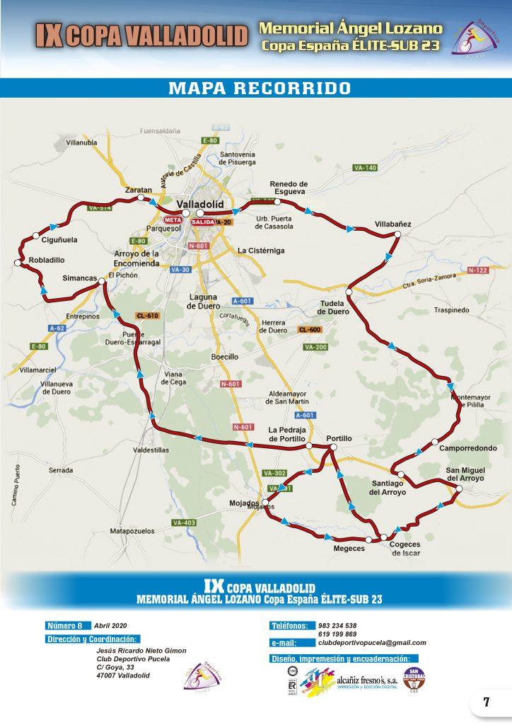 Mapa recorrido Memorial Ángel Lozano Valladolid