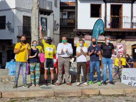 Podium de la segunda etapa de la Vuelta a Salamanca con Vinicius Rangel de amarillo